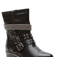 Black Faux Leather Strapped and Studded Biker Boots
