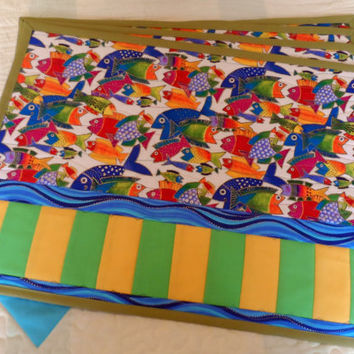 Quilted Table Placemats - Dinning Table Placemats - Laurel Burch Fabric Placemats - Dinner Placemats - Patchwork Placemats
