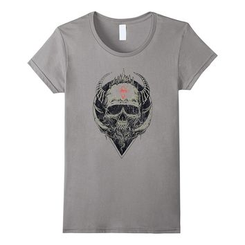 Viking Skull T shirt Tee Art Horn Horns Death Overlord Head