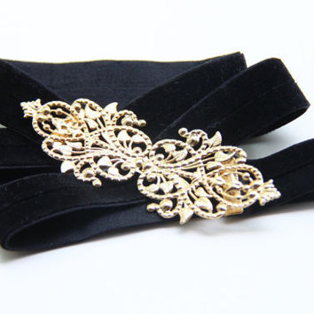 Stretched Velvet Black Belt  Skinny Belt With Lace by TheUrbanLady