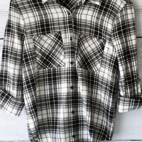 Plaid Flannel Shirt (Black and White)
