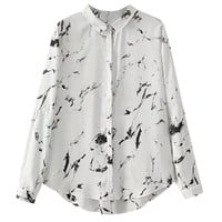 Painting Print Shirt Collar Long Sleeve Blouse