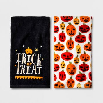 Terry Towel Halloween Trick or Treat and Orange Pumpkins 2pk - Hyde and Eek! Boutique™