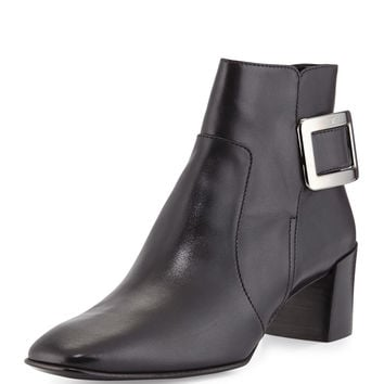 Polly Leather Side-Buckle Ankle Boot, Black - Roger Vivier
