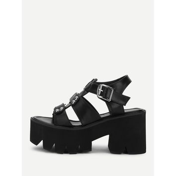 T-strap Buckle Detail Platform Wedges