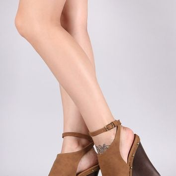 Qupid Nubuck Peep Toe Faux Wooden Platform Mule Wedge