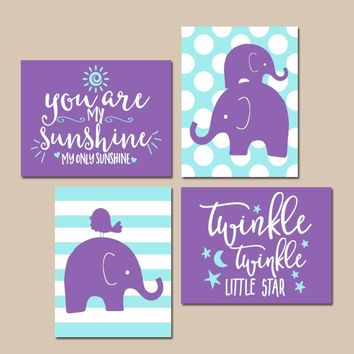 Girl Elephant Nursery Wall Art, Purple Aqua Nursery Decor, You Are My Sunshine, Twinkle Little Star, Baby Girl Quotes Decor, Set of 4
