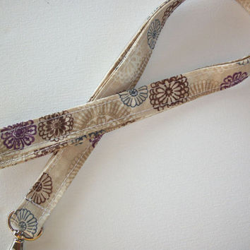 Lanyard  ID Badge Holder - Lobster clasp and key ring - brown purple flowers