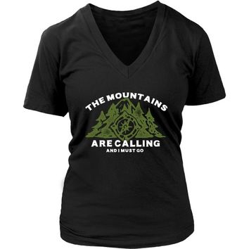 The Mountains are Calling and I Must Go - Women's V-Neck