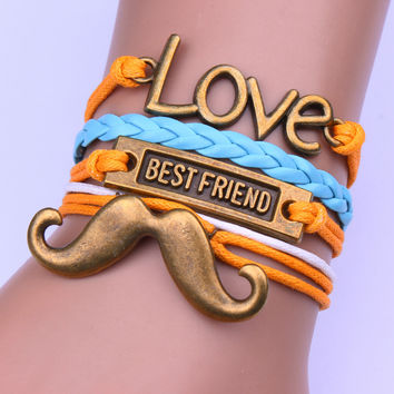 Beautiful Love Mustache Woven Bracelet