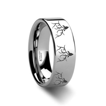 Deer Stag Antlers Engraved Flat Style Tungsten Carbide Band