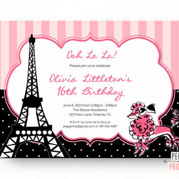 Printable Paris Birthday Invitation - Paris Birthday Party - Paris Theme Birthday Party - 16th Birthday Invitation - Paris Sweet Sixteen