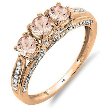 14K Rose Gold Round Morganite & White Diamond Ladies Vintage Bridal 3 Stone Engagement Ring