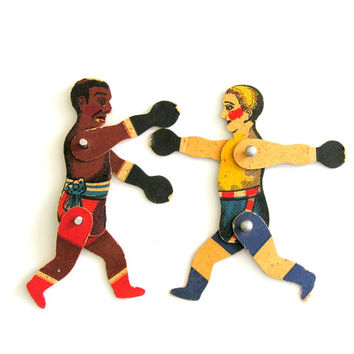 Vintage Jointed Boxers White Black Articulated Athletes Puppets Toy Paper Doll