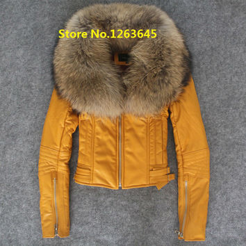 Yellow Red Leather Jacket With Fur Collar Natural Lamb Sheepskin Winter Coat Genuine Leather Jacket Women DHL Free Shipping USA