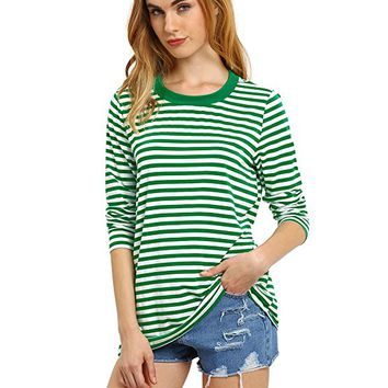 ROMWE Women's Long Sleeve T-shirt Round Neck Basic Striped Blouse