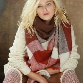 Oversized Burgundy Tone Plaid Throw Scarf
