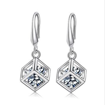 Charm jewelry exquisite 925 sterling-silver-jewelry cube crystal earrings for women Square pendants hypoallergenic earrings E432