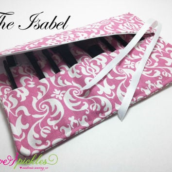 Makeup Travel Case, Pink and White Damask Brush Holder, Make Up Brush Roll