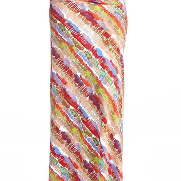 82 Days Women'S Poly Span Stripe Prints Maxi Skirt - Stripe