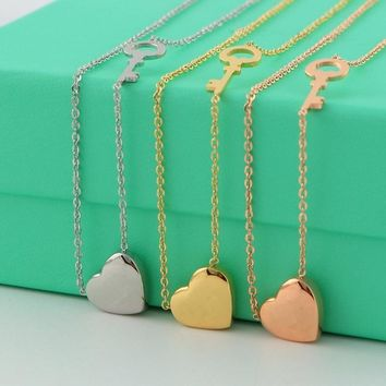 Hot sell Fashion tiff design forever love Necklaces 316L Titanium Steel Key Heart Necklaces & pendants statement for women