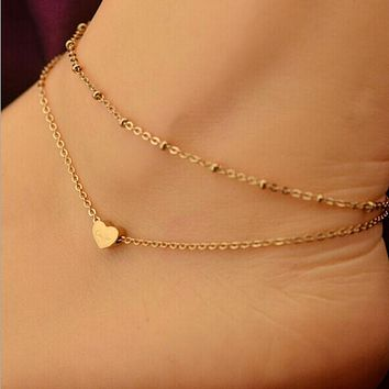 Elegant Double Chain Heart Bead Anklet Ankle Bracelet Beach Foot Jewelry