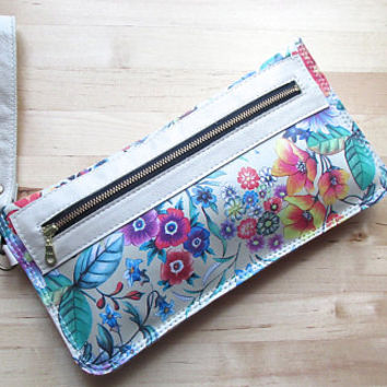 Everyday Wristlet, Leather Clutch, Zippered Clutch, Toiletry Pouch, Eggshell Floral Wallet,Purse, Bag, Birthday Gift, Gifts For Mom, For Her
