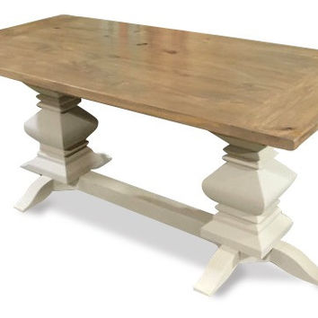 Weathered Fancy Farm Table with Matching Bench