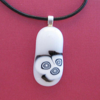 Bandit OOAK Fused Glass Pendant black and white by mysassyglass