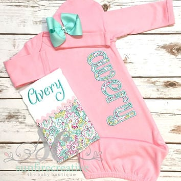 Girl Coming Home Outfit Baby Gown Bow