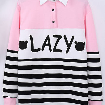 Pink Lapel Striped LAZY Print  Sweatshirt