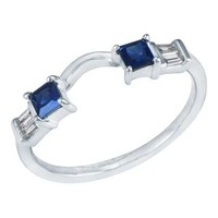 DIAMOND & SAPPHIRE SOLITAIRE RING WRAP IN 14K GOLD