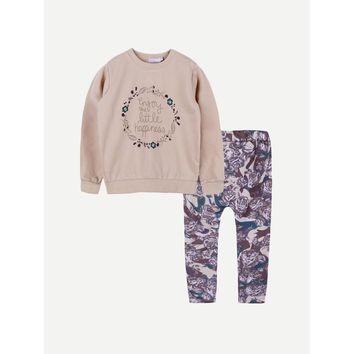 Girls Letter Print Top With Floral Print Pants
