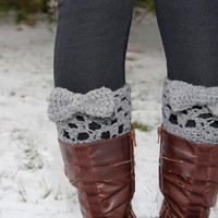 Grey crocheted boot cuff leg warmers with bow by KathleenRoseAmor