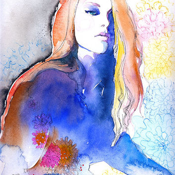 "Print of Watercolour Fashion Illustration. 8.5"" x 11"". Titled: Blue"