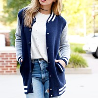 Varsity Sweater Bomber Jacket - Navy
