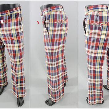 1970's Vintage / LEVI'S Panatela Pants / Plaid Golf Pants / Golf Slacks / Bell Bottoms / CaddyShack Pants / 34W x 29L / 70s Party Pants