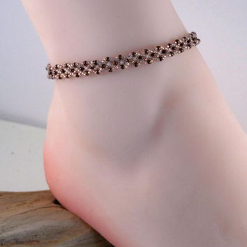Seed Bead Anklet - 9 1/2 Inch Beadwork Ankle Bracelet - Bead Woven Anklet in Light Copper and White - Stackable