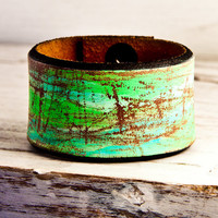 Handmade Leather Cuff Bracelet Vintage OOAK by rainwheel