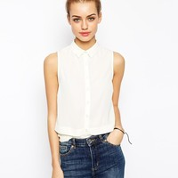 New Look | New Look Sleeveless White Shirt at ASOS