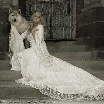 Victoria Velvet and Lace Medieval Wedding Gown by RomanticThreads