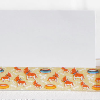 Orange Dogs in Bandanas with Food Bowls Washi, Shiba Inu, Dog Bones, Dinner Time Washi