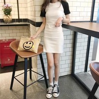 """""""Chanel"""" Women Casual Fashion Multicolor Short Sleeve Middle Long Section T-shirt Bodycon Mini Dress"""