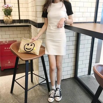 """Chanel"" Women Casual Fashion Multicolor Short Sleeve Middle Long Section T-shirt Bodycon Mini Dress"