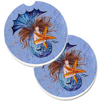 Mermaid  Set of 2 Cup Holder Car Coasters 8337CARC