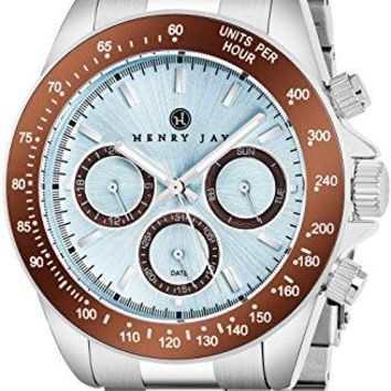 """Henry Jay Mens Stainless Steel Multifunction """"Specialty Aquamaster"""" Watch with GMT-Day-Date and Tachymeter Display"""