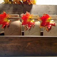 Fall Coffee Table Centerpiece - Rustic Fall Mason Jar Centerpiece - Fall Coffee Table Centerpiece with Planter