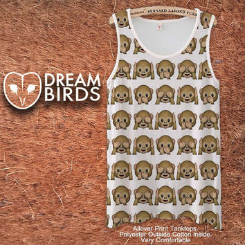 Emoji Monkey Pattern Fullprint Adult Tanktop. Men and Ladies Tanktop