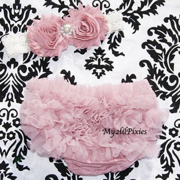 Baby Girl Shabby Chic Set- Ruffle Bum Baby Bloomer, Inspired Vintage Shabby Chic Frayed Flower headband, Lace headband, Vintage pink, ruffl