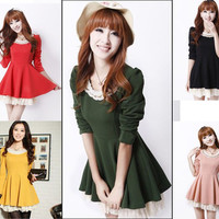 New Sweet Fashion Korean Slim Womens Peter pan collar Puff Lace Dress FF1750